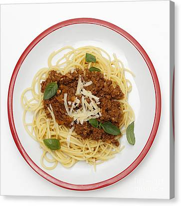 Spaghetti Bolognese From Above Canvas Print by Paul Cowan