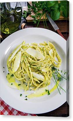 Spaghetti With Herbs - Rosemary, Thyme Canvas Print by Nico Tondini