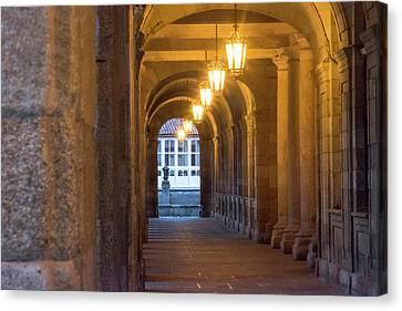 Spain, Santiago Archways And Door Canvas Print