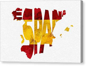 Spain Typographic Map Flag Canvas Print by Ayse Deniz