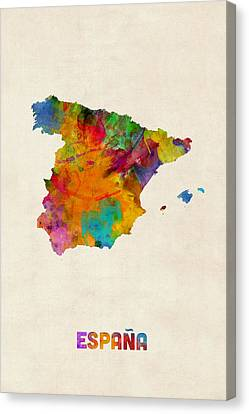Spain Watercolor Map Canvas Print