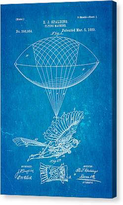 Spalding Flying Machine Patent Art 1889 Blueprint Canvas Print by Ian Monk