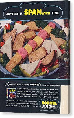 Spam 1950s Usa Hormel Meat Tinned Canvas Print by The Advertising Archives