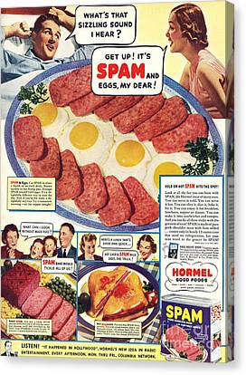 Spam 1960s Usa Hormel Meat Tinned Canvas Print by The Advertising Archives