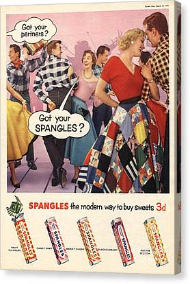 Spangles 1956 1950s Uk Sweets Party Canvas Print by The Advertising Archives