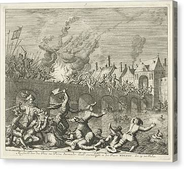 Spaniards Killing People In Maastricht, 1579 Canvas Print by Jan Luyken