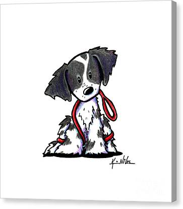 Spaniel Puppy With Leash Canvas Print by Kim Niles
