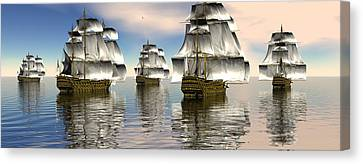 Canvas Print featuring the digital art Spanish Armada by Claude McCoy