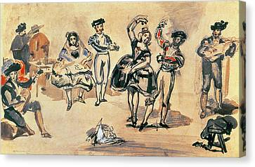 Spanish Dancers, 1862 Wc, Pencil And Ink Canvas Print by Edouard Manet