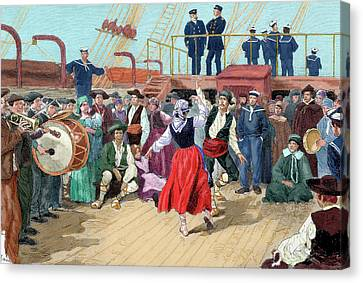Drummer Canvas Print - Spanish Emigrants On Board A Ship by Prisma Archivo