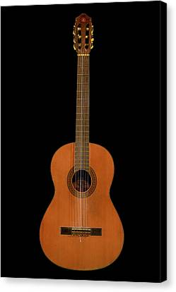 Spanish Guitar On Black Canvas Print by Debra and Dave Vanderlaan