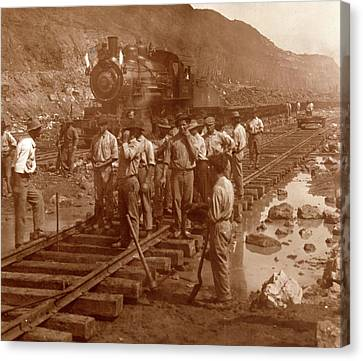 Spanish Laborers At Work In Culebra Cut And Loaded Train Canvas Print by Litz Collection