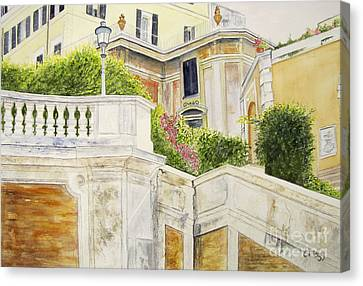 Canvas Print featuring the painting Spanish Steps by Carol Flagg