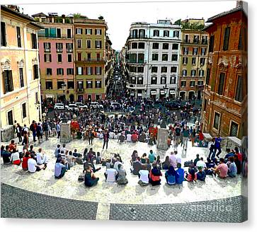 Spanish Steps Looking Down Canvas Print by Cheryl Del Toro