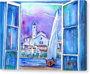 Spanish Window In Cadaques And The Church Of Santa Maria Canvas Print