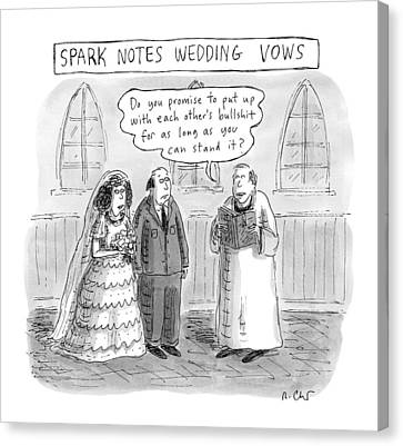 January Canvas Print - Spark Notes Marriage Vows -- A Minister Says by Roz Chast