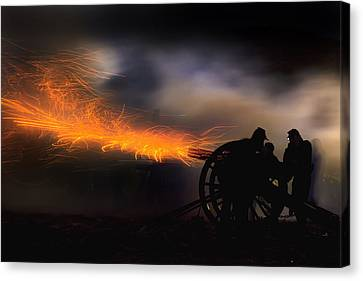 Spark Trails From Cannon Howitzer Blast Canvas Print