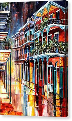 Street Lights Canvas Print - Sparkling French Quarter by Diane Millsap