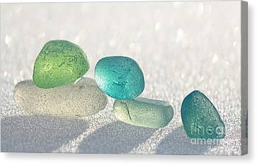 Sparkling Sea Glass Friends Canvas Print by Barbara McMahon