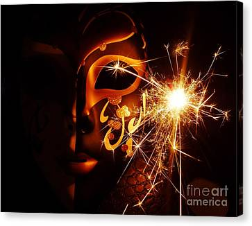 Sparklings Of Venetian Mask Canvas Print by AmaS Art