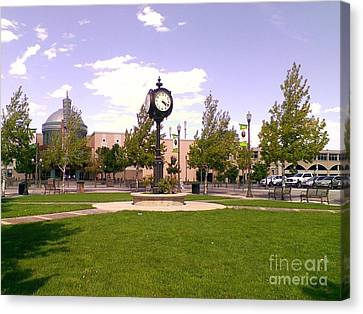 Canvas Print featuring the photograph Sparks Community Clock by Bobbee Rickard