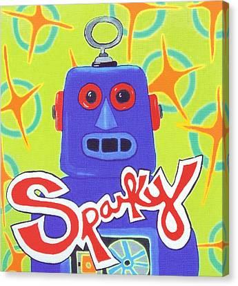 Sparky The Toy Robot Canvas Print by Lynnda Rakos