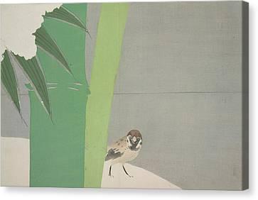 Nature Abstracts Canvas Print - Sparrow And Bamboo., Kamisaka, Sekka, Artist by Artokoloro
