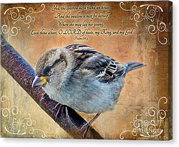 Sparrow With Verse Canvas Print by Debbie Portwood
