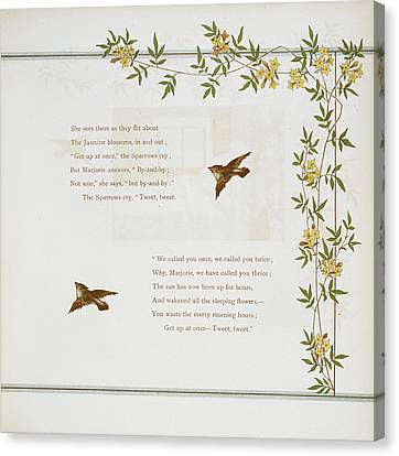 Sparrows And Jasmine Blossoms Canvas Print by British Library