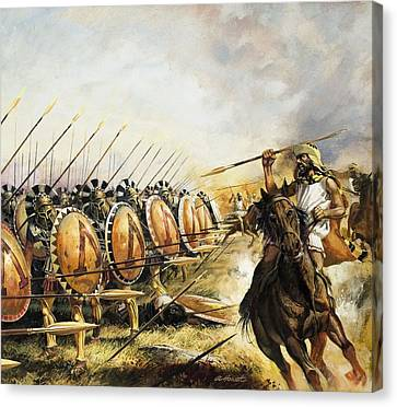 Battle Canvas Print - Spartan Army by Andrew Howat