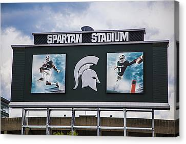 Spartan Stadium Scoreboard  Canvas Print by John McGraw
