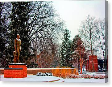 Sparty In Winter  Canvas Print by John McGraw