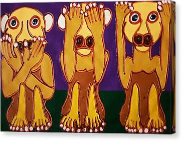 Speak No Evil See No Evil Hear No Evil Canvas Print by Matthew Brzostoski