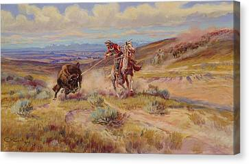 Spearing A Buffalo Canvas Print by Charles Marion Russell