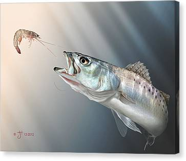 Fish Canvas Print - Speck Snack by Hayden Hammond