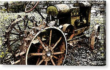 Speckled Antique Tractor Canvas Print by Michael Spano