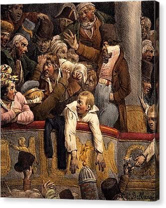Spectacle Gratis, Avant Scene Canvas Print by Joseph-Louis Hippolyte Bellange