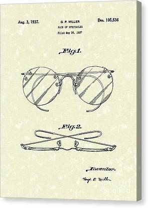 Spectacles 1937 Patent Art Canvas Print by Prior Art Design