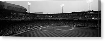 Spectators In A Baseball Park, U.s Canvas Print