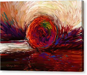 Speed - Dramatic Red And  Purple Abstract Print On Canvas Canvas Print by Kanayo Ede