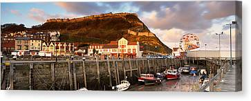 Speed Boats At A Commercial Dock Canvas Print by Panoramic Images