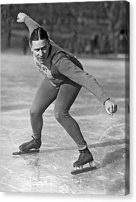 Speed Skater At Start Canvas Print by Underwood Archives