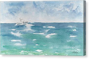 Speeding Across The Sea Canvas Print by Pat Katz