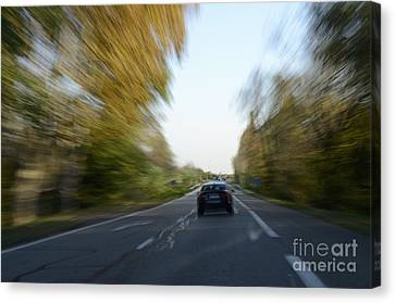 Speeding Car On Highway Canvas Print