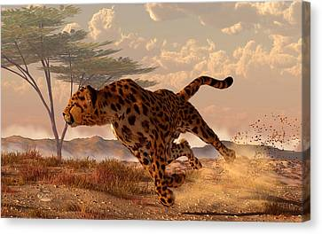 Speeding Cheetah Canvas Print by Daniel Eskridge