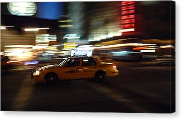 Speeding Taxi Nyc Canvas Print by David Cook