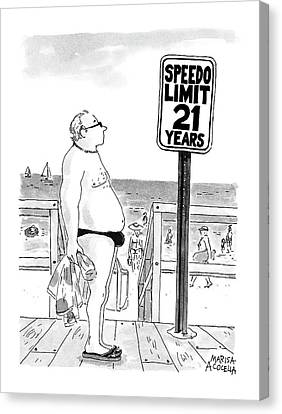 Entrance Canvas Print - Speedo Limit: 21 Years by Marisa Acocella Marchetto
