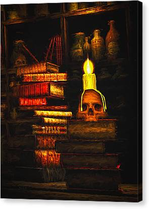 Skull Canvas Print - Spells by Bob Orsillo