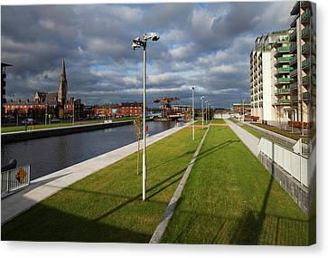 Spencer Dock In The Regenerated Canvas Print by Panoramic Images