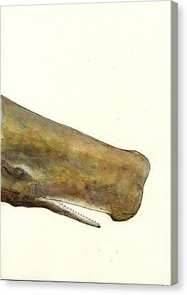 Whale Canvas Print - Sperm Whale First Part by Juan  Bosco